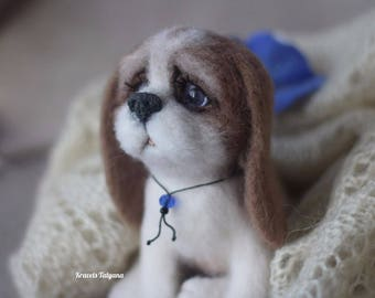 Needle felted Spaniel, needle felted animals, felted puppy dog, felt dog, felt toy dog, wool figurine dog, cute puppy, gift, felt ornaments
