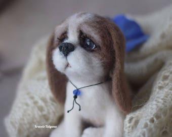 Needle felted Spaniel, needle felted animals, felted puppy dog, felt dog, felt toy dog, wool figurine dog, cute puppy, gift, felt ornaments