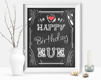 Happy Birthday Mum, Birthday Sign for Mum, Mom's Birthday Present, Mom Resume Wall Art Gift, Instant Printable DIGITAL FILE JPG