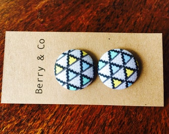 Large Fabric Button Earrings
