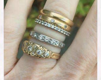 Antique Vintage Art Deco 18k White Gold and Diamond Half Eternity Ring Size 6