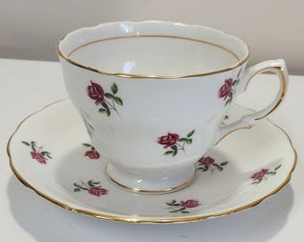 Vintage Colclough English Tea Cup and Saucer bone china Chintz Small Red Roses