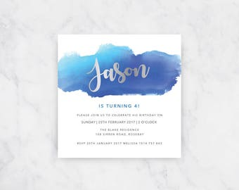 Boys Blue Watercolour Invitation | Boys Birthday | Printable Invitations