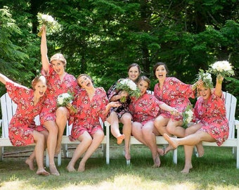 Bridesmaid Robes-9 Floral Bridesmaids Robes for your party of nine- Available Monogramming-Lot's of colors
