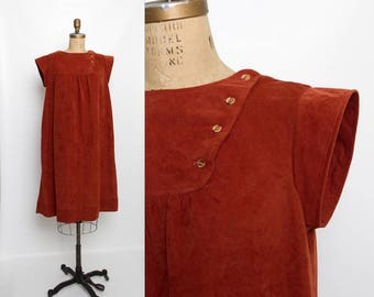 vintage 1970s maternity dress | rust color