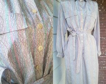 Vintage 70s Squiggle Print Shirt Dress with Belt