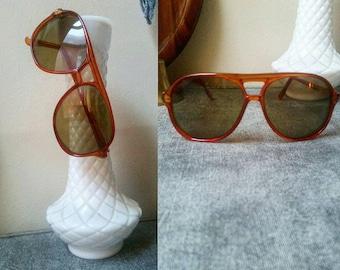 Vintage Red Orange Sunglasses || 70s Fashion || Free Shipping