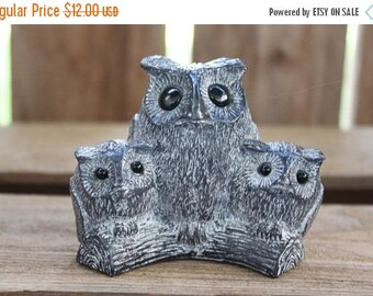 """On Sale Owl Figurine Vintage 1970's Nuvuk Canada Soapstone Carved Sculpture Mama Owl & Baby Owls """"A Wolf Originals"""" Collectible Retro Owl Ho"""