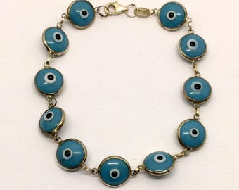 sterling silver glass evil eye  bracelet  #216