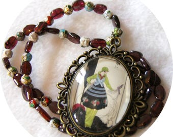 Necklace engraving fashion Oiselliere years 20 cabochon and Garnet, Garnet, Garnet and bronze Locket necklace, red collar necklace