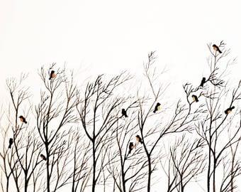Acuarela original, árboles y pájaros, cuadro decorativo, pintura exclusiva, decoración moderna, creación única, ilustración