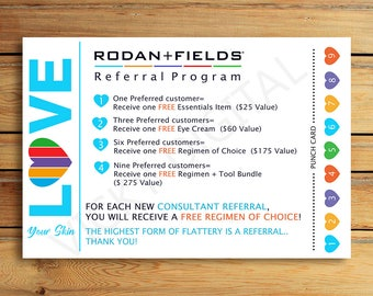 Rodan and Fields Referral Cards - R+F Business card - Digital File 4x6 - Rodan + Fields  - Immediately available after your purchase