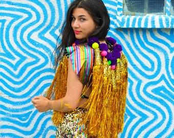 Gold on Rainbow Tassel Cape, Mens and Womens Festival costume, Pom poms
