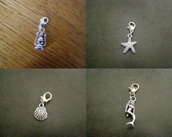 to choose from, pendant, charm, charm, lantern, starfish, seashell, Mermaid