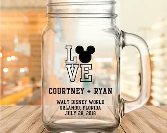 "Custom Disney Themed ""Love"" Wedding Favor Mason Jars"