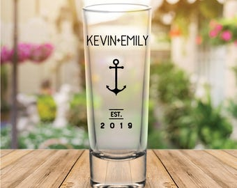 Custom Personalized Nautical Anchor Tall Wedding Favor Shot Glasses