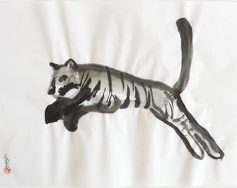 SALE! Jumping Tiger - Original Sumi-e Painting - 33 x 24 cm - Wildlife Art - Original Tiger Art