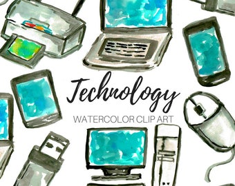 Watercolor clip art - technology clip art - computer clip art - Commercial Use