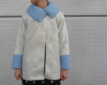 White and blue handmade faux fur coat
