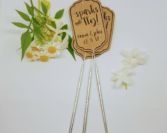 20 x Sparks will fly sparkler tags sleeves - wedding send off favours