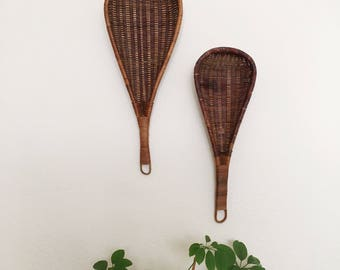 Vintage Woven Wicker Wall Scoop Baskets Set of 2