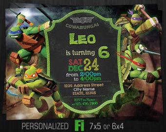 TMNT Invitation, TMNT Birthday Party, Teenage Mutant Ninja Turtles Invitation, Cartoon, Chalkboard, Personalized, Printable, Digital File