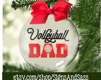 Volleyball DAD - Floating Glass Ornament