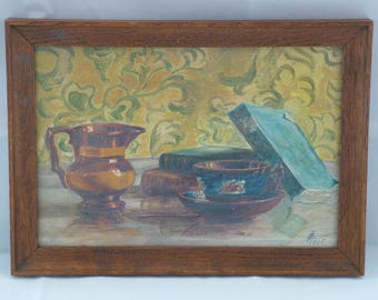 French 1930s Still Life Oil on Board in Oak Frame Picture