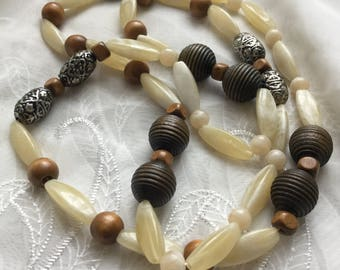 Chunky Marbled Plastic, Metal & Wooden Beaded Necklace