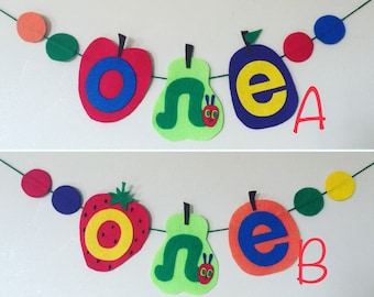 The very hungry caterpillar one high chair banner with dots for 1st birthday. Birthday decorations banner, supplies for first birthday decor
