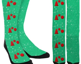 Holiday Crew Socks - Holiday Socks - Christmas Socks - Christmas Ornament Socks -Unique Socks -Novelty Socks -Cool Socks - FREE Shipping E02
