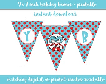 Thing 1 and Thing 2 Birthday Banner - Printable - Instant Download - Happy Birthday