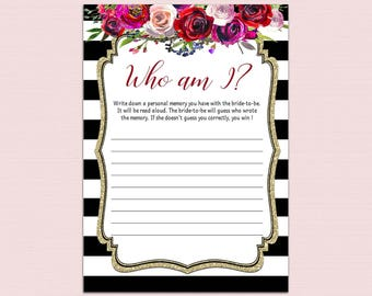 Who Am I Bridal Shower Game Printable, Gold Confetti Memory With the Bride Game, DIY Bachelorette Party Games, Black Gold Bridal Shower BL9
