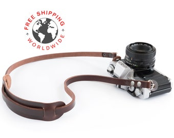 Leather camera strap (The ''absolute'' (Dark brown))