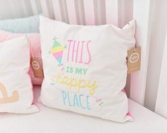"Toddler Pillowcase - Pillow Cover – Kid Pillowcase - Child Pillowcase - Pink Prank ""This is my happy place"" Nursery Pillowcase Girl"