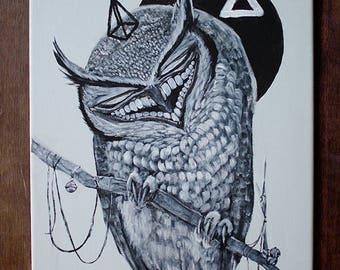 Grinning Great Horned Owl Painting