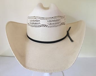 """Vintage quality high Resistol Hats western style finely woven straw pre formed hat adult size 7 3/8"""" 59 Spring /Summer"""