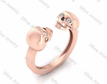 0.07ct Natural Diamond Witchy Skull Engagement Ring Womens Gothic Wedding Ring Memento Mori Skull Bague Promise Ring Selectable Metal Color