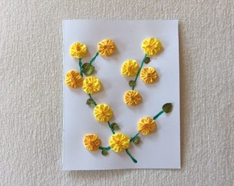 Greeting Card with a Yellow Flower Vine Design