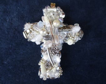 Beaded cross pendant