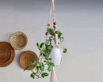 CHARITY DONATION Classic White Macramé Plant Hanger with Wooden Beads