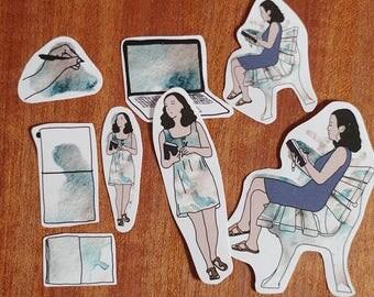 Planner Sticker Set, Stationery Girl – Watercolor Doodles