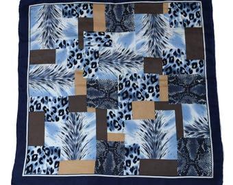 Vintage 100% SILK women scarf bandana blue hand rolled