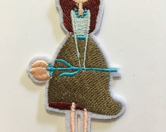 Girl Holding Flower - Iron on Appliqué Patch