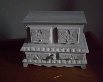 Gustavian grey weathered jewelry box