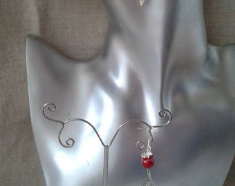 "Earrings ""leaf and Pearl red"""