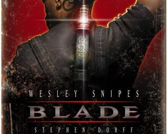 """10"""" x 7"""" Metal Sign Blade Movie Poster Wesley Snipes Vintage Look Reproduction"""