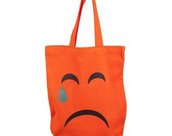 """Bag Shoppingbag cotton shoulder bag orange, smilie """"crying face"""", Emojivariante"""