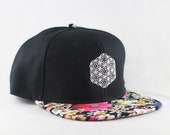 The Circle of Life Sacred Geometry Floral Print Snapback Hat