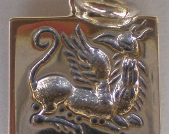 Griffin Guardian Sterling Silver Pendant Symbol of wealth and prosperity